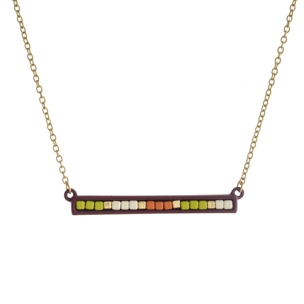 """Color block bar pendant necklace. Pendant approximately 2"""" in length. Approximately 14"""" in length overall."""