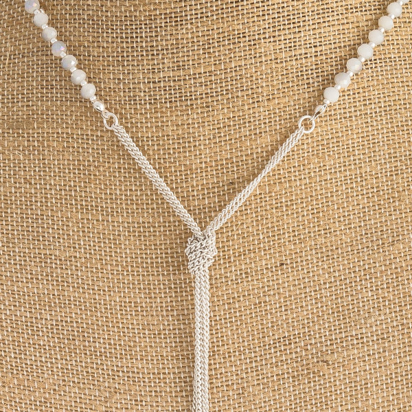 """Long faceted beaded Y necklace. Approximately 30"""" in length."""