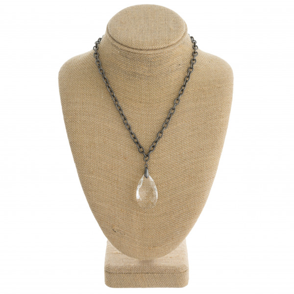 "Drawn cable chain necklace featuring an iridescent teardrop crystal pendant. Pendant approximately 1.5"". Approximately 20"" in length overall."