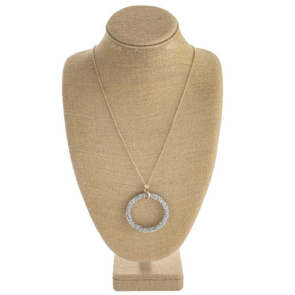 """Long rolo chain necklace featuring a rhinestone beaded pendant. Pendant approximately 2"""". Approximately 36"""" in length overall."""