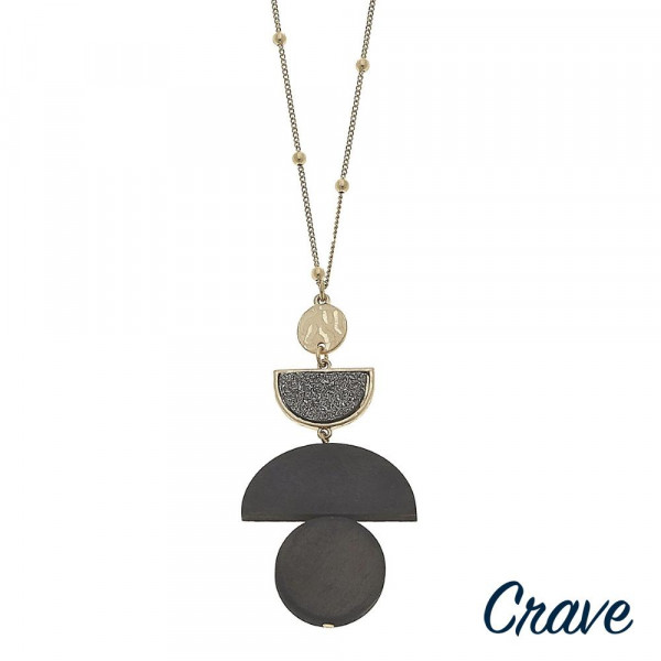 "Long ball chain necklace featuring a wood inspired geometric pendant with a druzy accent. Pendant approximately 3"" in length. Approximately 36"" in length overall."
