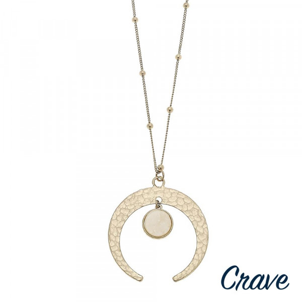 """Long ball chain necklace featuring a nested druzy crescent pendant. Pendant approximately 2"""" diameter. Approximately 36"""" in length overall."""