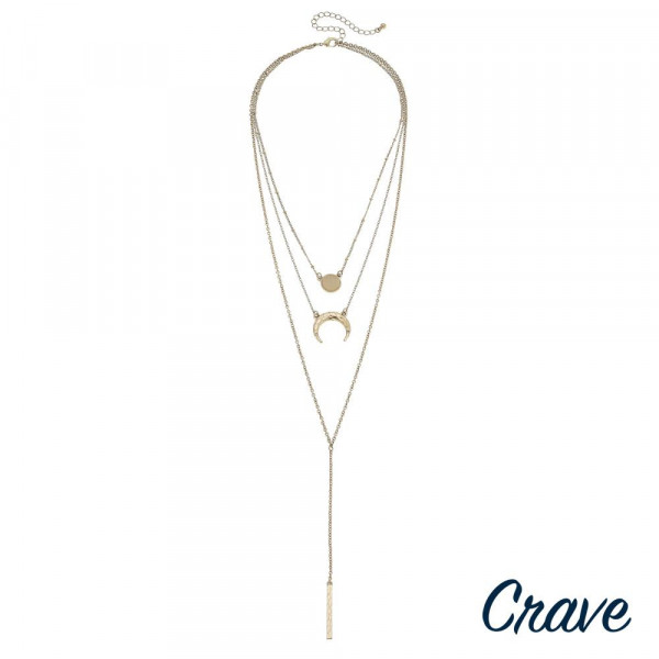 """Triple layered Y bar necklace featuring crescent and druzy accents. Shortest layer approximately 16"""" in length. Approximately 34"""" in length overall."""