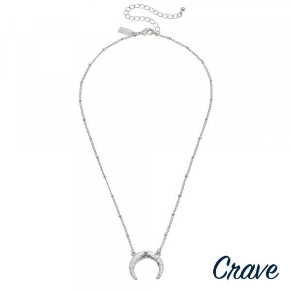 """Satellite chain crescent necklace with rhinestone accent. Pendant approximately 1"""" in diameter. Approximately 16"""" in length overall."""