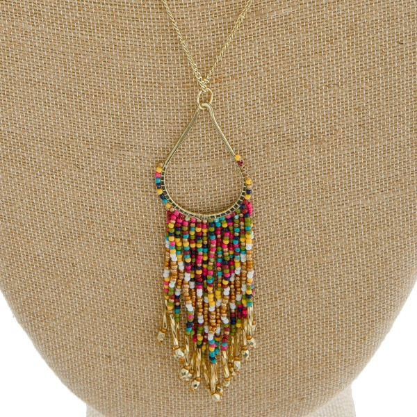 """Long seed beaded teardrop tassel pendant necklace.  - Pendant approximately 5"""" in length - Approximately 40"""" in length overall with 3"""" extender"""