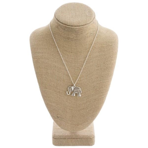 "Filigree elephant pendant necklace. Pendant approximately 1"" in length. Approximately 18"" in length overall."