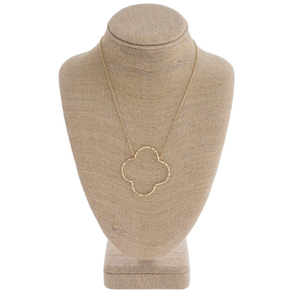 "Hammered clover pendant necklace. Pendant approximately 2"" in diameter. Approximately 18"" in length overall."