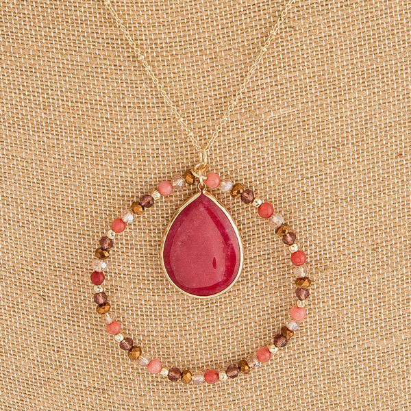 """Long satellite chain semi precious beaded teardrop nested pendant necklace. Pendant approximately 2.5"""" in diameter. Approximately 36"""" in length overall."""