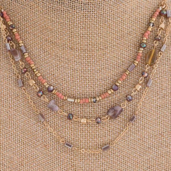 "Layered semi precious beaded boho necklace. Approximately 16"" in length."