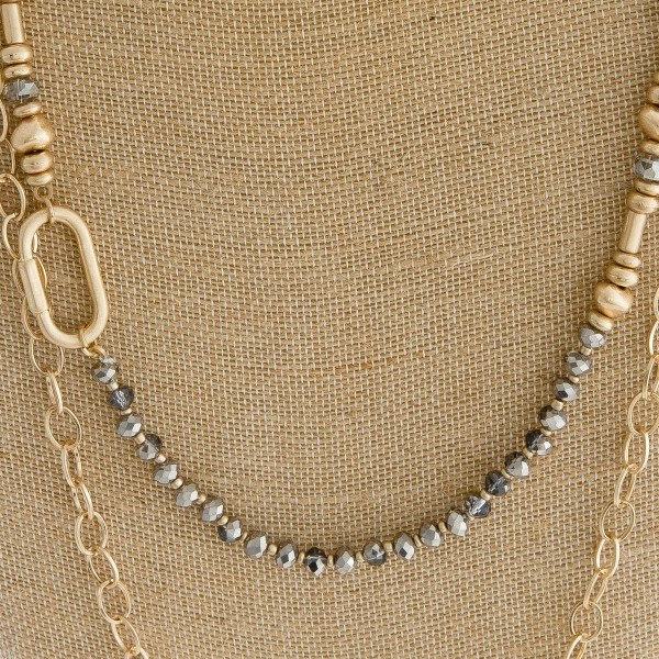 "Long layered beaded metal chain link necklace.   - Approximately 34"" L"