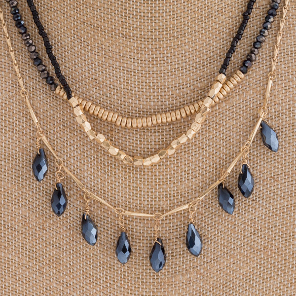 """Layered beaded teardrop chandelier boho necklace with metal accents. Approximately 16"""" in length."""