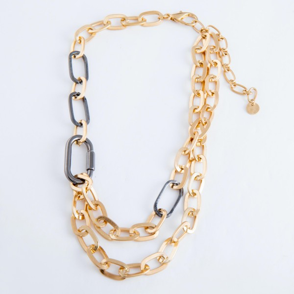 """Two tone chain linked layered necklace. Approximately 14"""" in length."""
