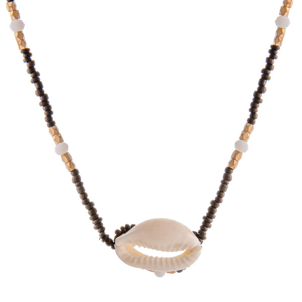 """Seed beaded puka shell choker. Approximately 12"""" in length.   - Extender approx. 5"""" L"""