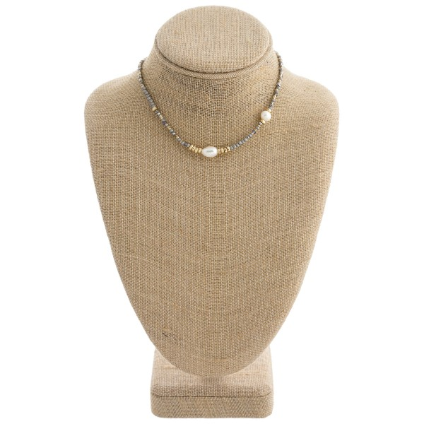 "Beaded pearl collar necklace with a 3"" extender. Approximately 12"" in length."