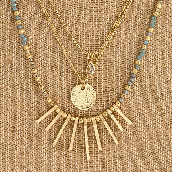 """Layered beaded boho necklace with metal tassel details. Approximately 18"""" in length."""