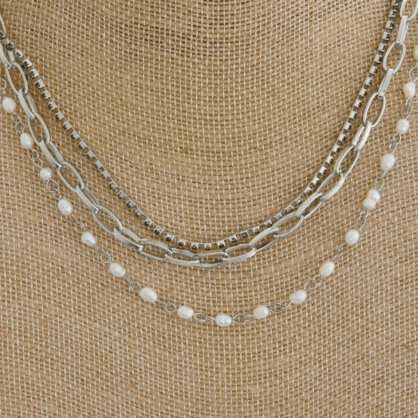 "Layered rhinestone pearl beaded chain link necklace.  - Approximately 16"" in length with 3"" extender"
