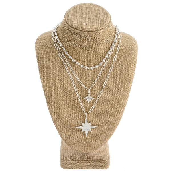"Layered rhinestone chain linked starburst pendant necklace. Pendant approximately 1.5"" in length. Approximately 20"" in length."