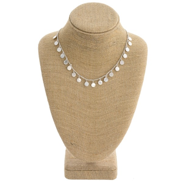 """Disc accented rolo chain necklace. Approximately 16"""" in length."""
