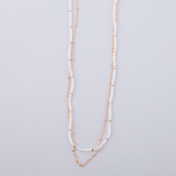"Dainty layered beaded necklace. Approximately 16"" in length."