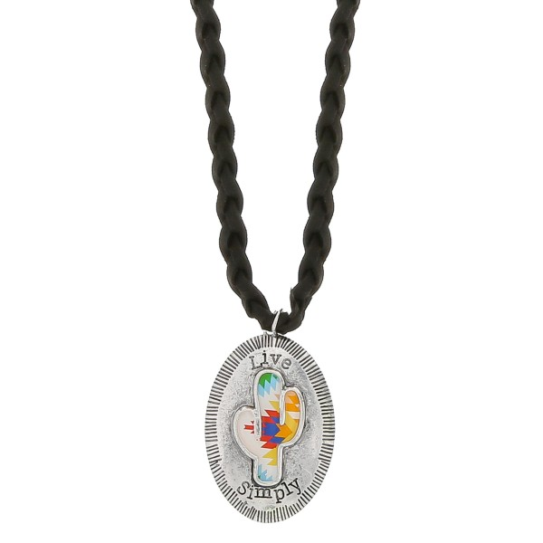 """Black faux leather braided necklace featuring an antique silver cactus pendant with """"Live Simply"""" engraved details.  - Pendant approximately 2.75"""" in length - Approximately 38"""" in length overall with a 3.5"""" extender"""
