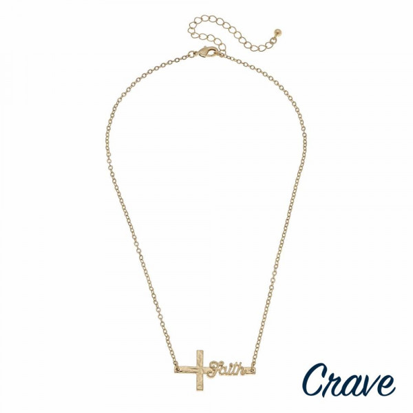 """Gold cable chain east west cross """"Faith"""" script necklace. Pendant approximately 1.5"""" in length. Approximately 16"""" in length overall."""