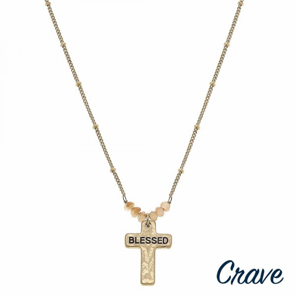 "Gold satellite chain hammered ""Blessed"" engraved cross pendant necklace featuring beaded accents. Pendant approximately 1"" in length. Approximately 16"" in length overall."