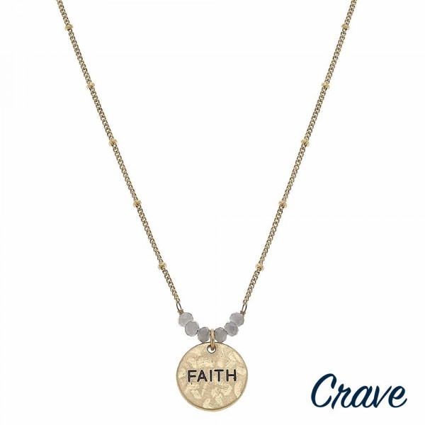"Gold satellite chain hammered ""Faith"" engraved pendant necklace featuring beaded accents. Pendant approximately .5"" in diameter. Approximately 16"" in length overall."