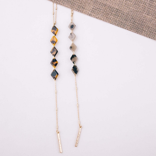 """Long layered diamond resin accented Y necklace. Shortest layer 26"""" in length, 36"""" in length overall."""