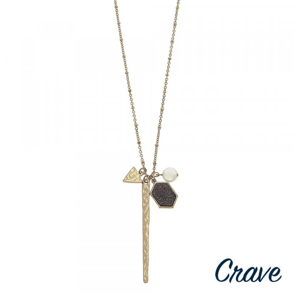 "Long satellite chain hammered bar necklace featuring druzy and pearl accents. Pendant approximately 3"" in length. Approximately 34"" in length overall."