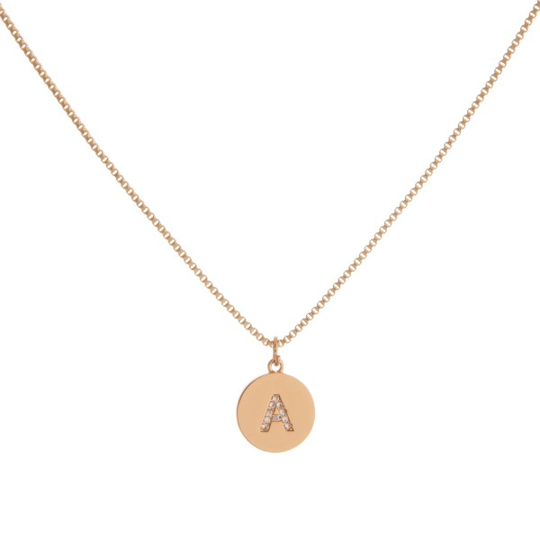 """Dainty gold cubic zirconia initial """"A"""" necklace.   - Pendant approximately 1cm in diameter - Approximately 16"""" in length with 3"""" extender"""