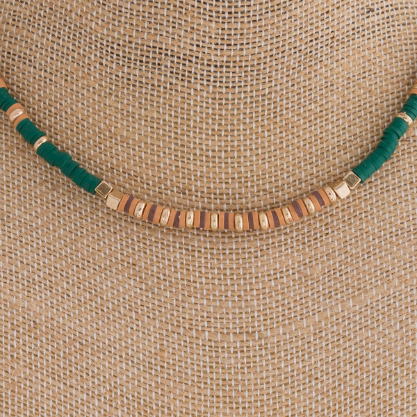 "Spacer beaded boho necklace. Approximately 16"" in length."