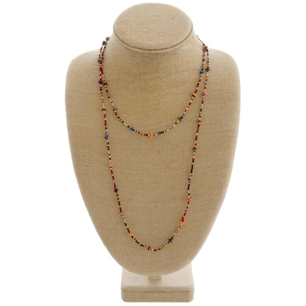 "Seed beaded layered necklace with spacer bead details.   - Approximately 34"" in length"