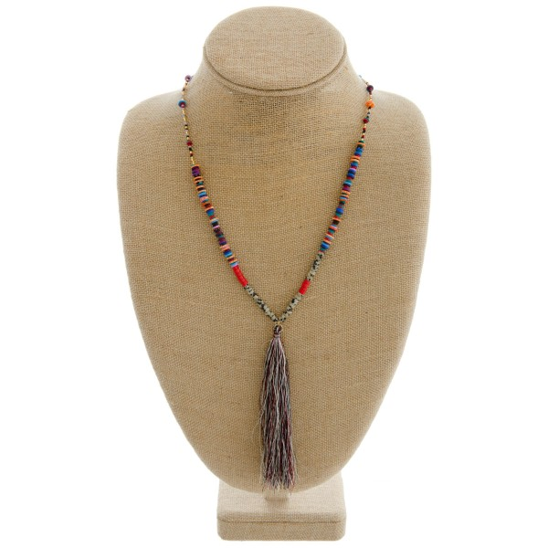 "Natural stone accented seed/spacer beaded tassel necklace.   - Tassel approximately 5.5"" L - Approximately 40"" in length overall"