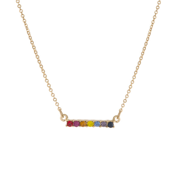 "Dainty multicolor cubic zirconia bar necklace. Approximately 16"" in length."