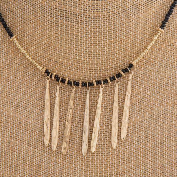 "Seed beaded metal tassel boho necklace.   - Approximately 16"" in length with 3"" extender"