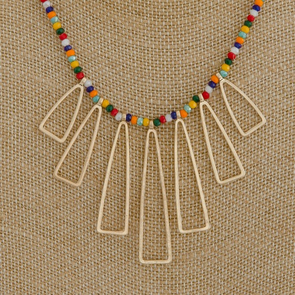 "Seed beaded open metal tassel boho necklace.  - Approximately 18"" in length with 3"" extender"