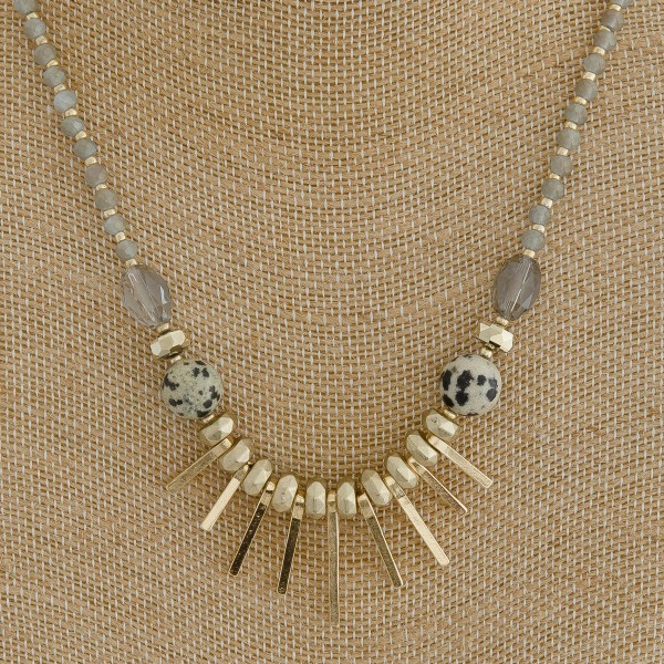 "Natural stone accented beaded metal tassel boho necklace.  - Approximately 18"" in length with 3"" extender"