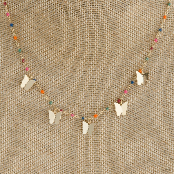 """Dainty enamel color coated butterfly necklace.   - Approximately 16"""" in length"""
