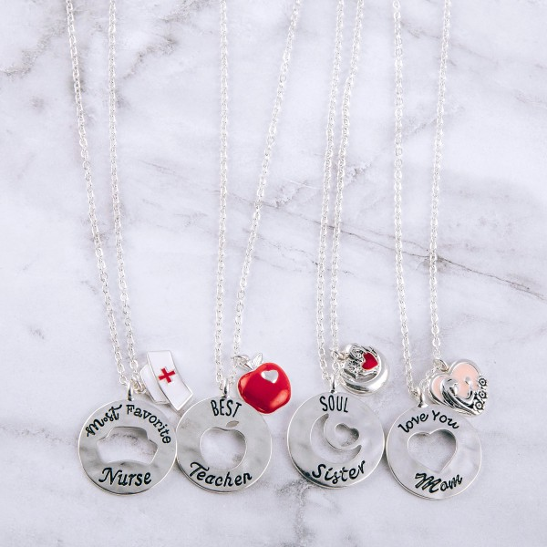 """Love You Mom"" engraved cut out pendant necklace.  ""Mom, You are more special   than words can say. Please  drive safely everyday.""  - Pendant approximately 1"" in diameter - Approximately 20"" in length overall with 3.5"" extender"