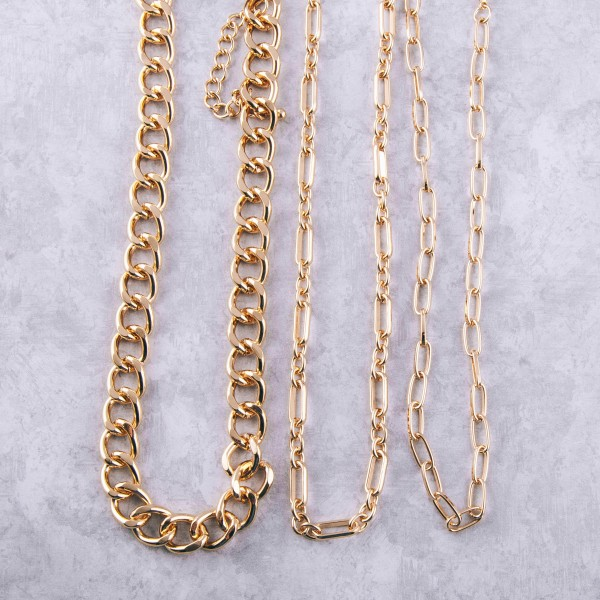 """Gold cable chain necklace.  - Approximately 16"""" in length with 3.5"""" extender"""