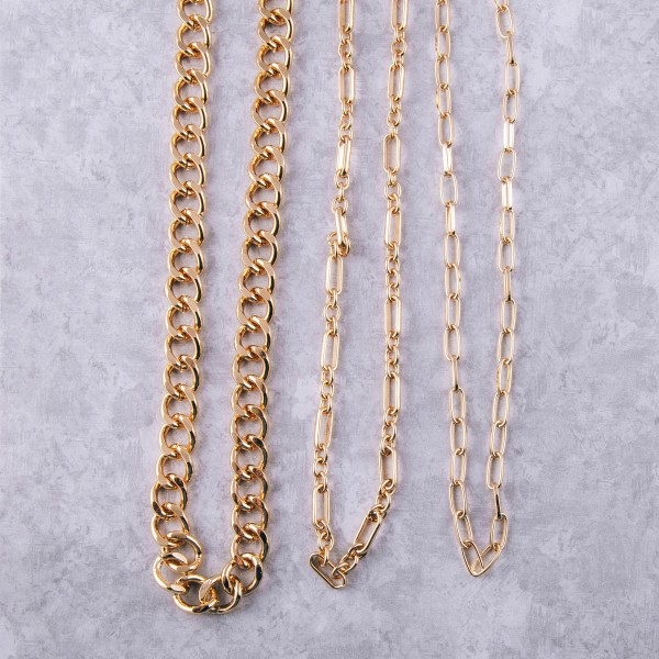 """Long chunky gold cuban linked necklace.  - Approximately 28"""" in length with 3.5"""" extender"""