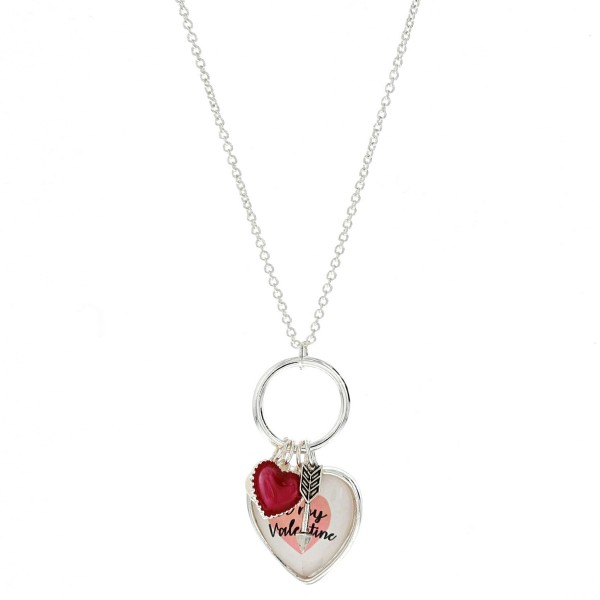 """""""Be my Valentine"""" heart dome charm pendant necklace.  - Pendant approximately 2"""" in length - Approximately 20"""" in length overall with 3"""" extender"""