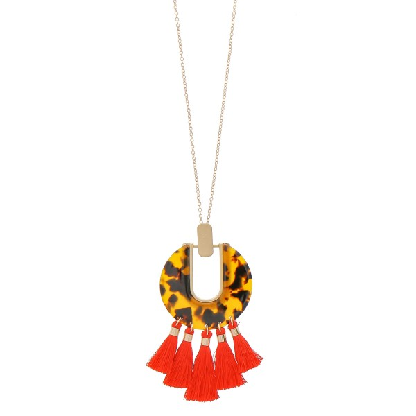"Resin tortoise shell fringe tassel pendant necklace.  - Pendant approximately 4"" in length - Approximately 38"" in length overall with 3.5"" extender"