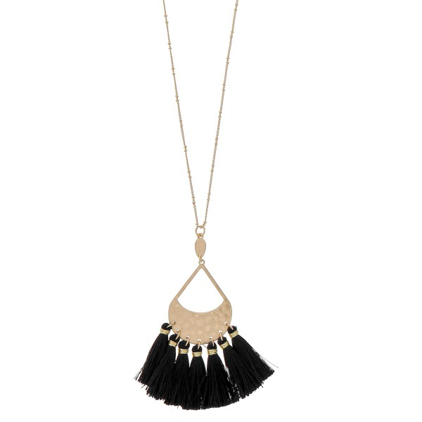 "Hammered teardrop fringe tassel pendant necklace.  - Pendant approximately 3.5"" in length - Approximately 38"" in length overall with 3"" extender"