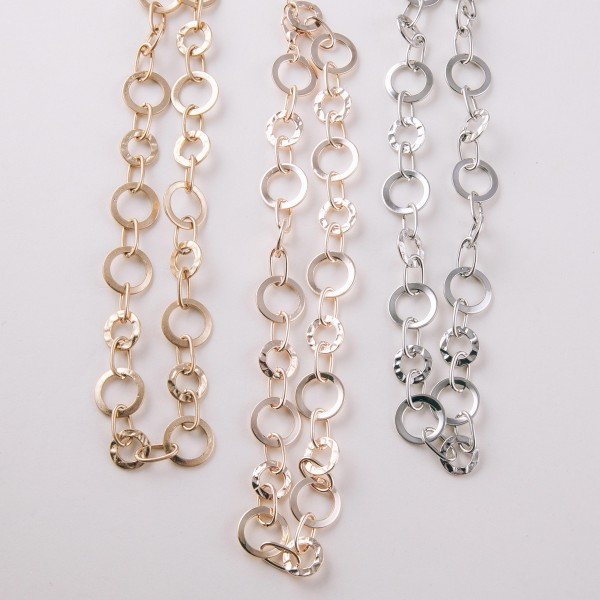 """Short metal disc linked necklace.  - Approximately 12"""" in length with 3"""" extender"""