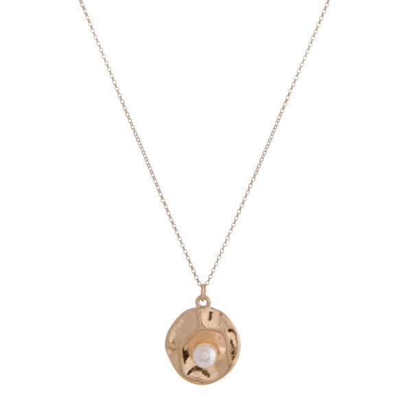 "Pearl nested pendant necklace.  - Pendant approximately .75"" in diameter - Approximately 16"" in length overall with 3"" extender"