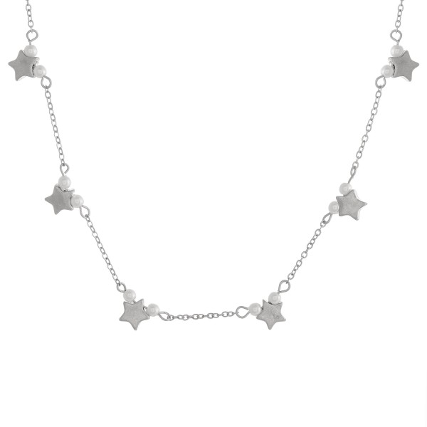 "Star necklace with pearl details.  - Approximately 14"" in length with 3"" extender"