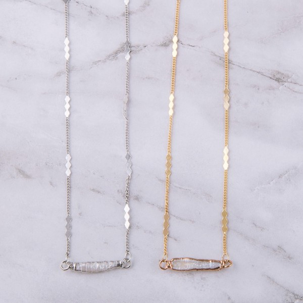 "Faux pearl bar necklace.  - Approximately 16"" in length with 3"" extender"