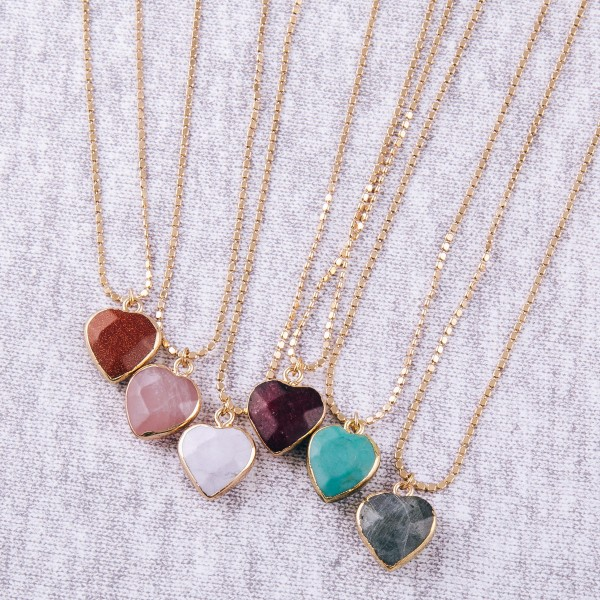 """Natural stone heart pendant necklace.  - Pendant approximately .5"""" - Approximately 16"""" in length overall with 3.5"""" extender"""