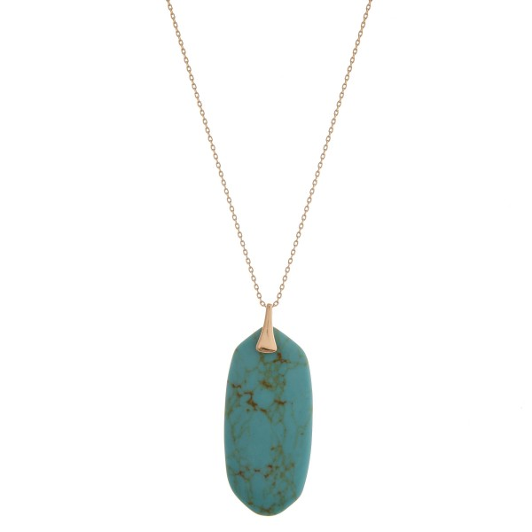 """Long semi precious oblong pendant necklace.  - Pendant approximately 2.25"""" in length - Approximately 34"""" in length overall with 3"""" extender"""